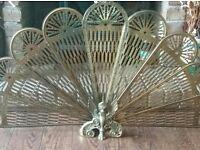 Vintage folding peacock fire screen