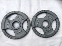 2 x 5kg Marcy Olympic Tri-Grip Cast Iron Weights