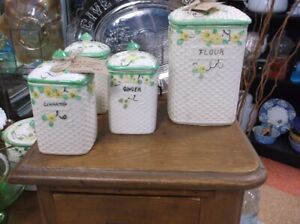 VINTAGE MADE IN JAPAN FLOUR CANISTER AND SPICE SET