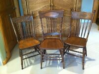 3 Antique Press Back Chairs