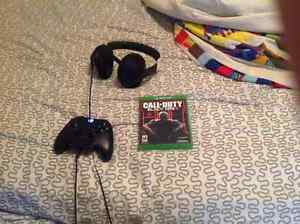 Selling Xbox one 3 games controller and headset