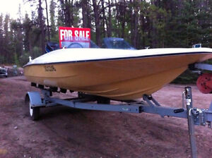 1975 14' fiberglass boat with low hr 70 hp outboard engine