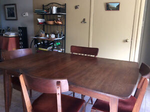 Teak Table and Hutch