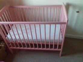 Baby girls crib cot as new.