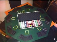 Poker set and fold up playing table