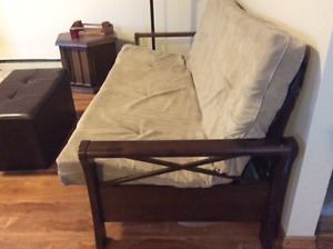 Futon with wooden arms