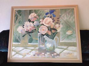 "Original Lee Reynolds Floral Canvas 56"" W x 46""H Oil Painting"