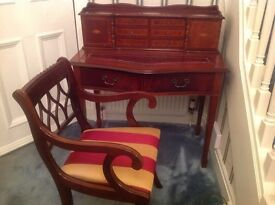 ANTIQUE REPRODUCTION MAHOGANY DESK AND CHAIR