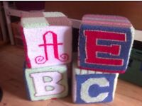x4 Handmade Knitted Stacking Cubes - Next to New £26