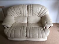 LEATHER CREAM SOFAS ��40 for both