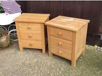Pair matching wooden bedsides