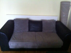 Grey and black sofa set (3 and 2 seater)