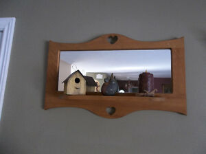 Country solid wood mirror with attached shelf nice for cottage