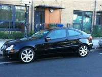 MERCEDES C CLASS COUPE 2005 WITH TWO TONE LEATHER AND PANORAMIC ROOF LONG MOT 1.8 AUTOMATIC