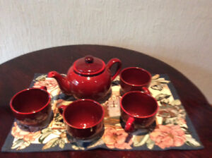 NEW RED COFFEE/TEA POT WITH 4 MUGS