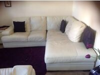 L-Shaped Leather Corner Sofa | Ivory white | Beautiful