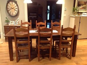 6 antique ladderback chairs