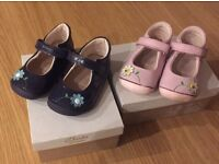 2 pairs of clarks little jams shoes