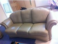 BEIGE LEATHER 3 PIECE SUITE 3 Seater Sofa & 2 Single Seaters Chairs £170
