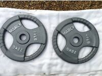 2 x 20kg Marcy Olympic Tri-Grip Cast Iron Weights