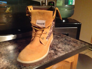 Brown-black-and-white Timberland work boots