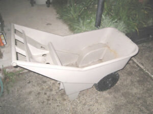 Used Rubbermaid Commercial plastic Lawn Cart 200 lb, good cond