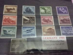 Mint condition WW2 Germany Third Reich military stamps full set