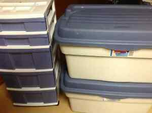 Rubbermaid Storage Containers/ Carts/Wrapping Paper