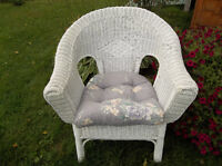 Real wicker chair with cushion perfect for student