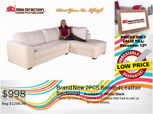 ◆Brand New 2pcs Bonded Leather Sectional@New Direction Home