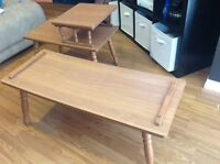 Set of 2 retro wooden tables