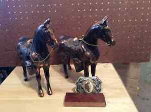 Twin Brass Horses complete with Bridles and Saddles
