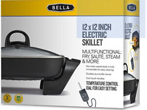 BELLA 12 x 12 inch Electric Skillet with Non-Stick Coating