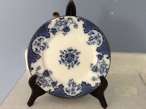Antique Flo Blue Plate with Attached Warming Tray