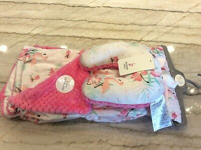 """Bedtime Story Pink Super Soft 30"""" x 40"""" Reversible Blanket W/ Travel Pillow. NEW"""