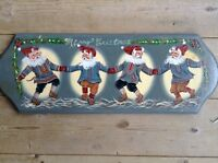 Hand painted wooden Christmas wall sign