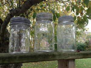 VINTAGE MASON JARS! GLASS LIDS & METAL RINGS!