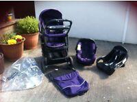 Baby graco travel system pushchair/car seat purple