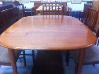 Teak Mid-century dining table + 6 Chairs