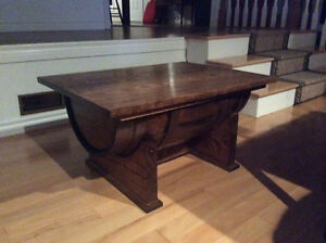 Oak Wine Barrel Coffee Table, Reclaimed wooden benches,