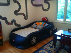 Toddler race car bed with organic mattress and custom comforter