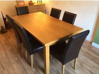 Solid Oak Dining Table & 6 Bella Chairs