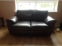 2 seater & 3 seater brown leather sofas £100 ono