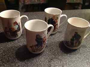 Four mugs Norman Rockwell