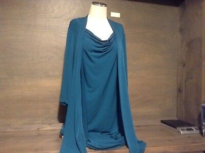 Women's Twofer Dress CONNECTED APPAREL GREEN Draped Neck 3/4 Sleeve PLUS  NWOT Connected Apparel 3/4 Sleeve