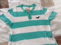Hollister mint green and white tshirt