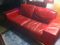 Boxy Red Leather Sofa : only £50