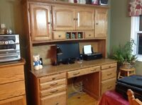 Solid oak desk with hutch