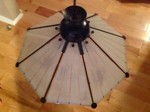 MOVING- Glass Hanging Lamp. $10.00