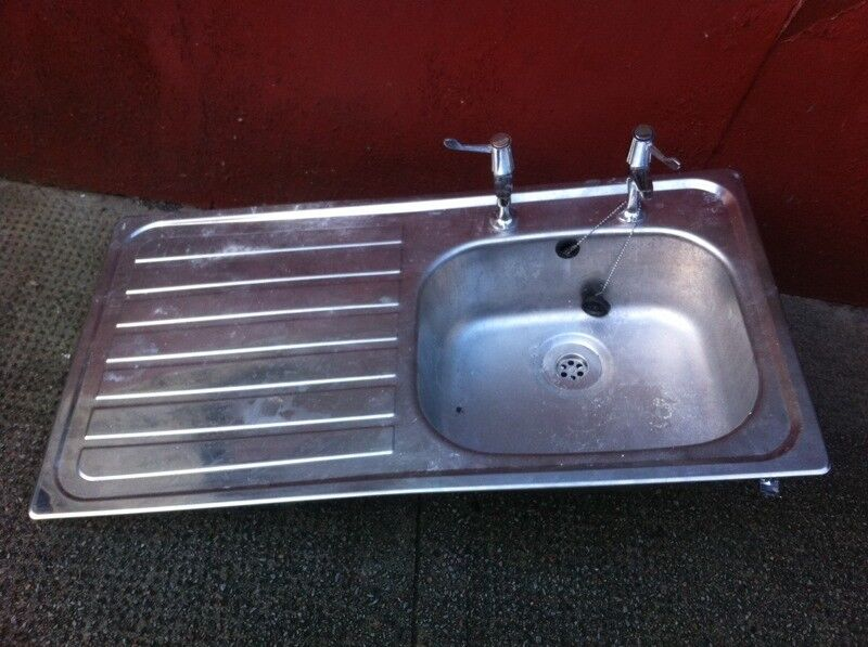 Steel Kitchen Sink with 2 Taps